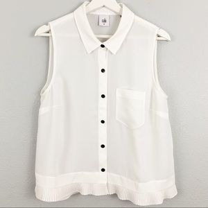 CABI button down white pleated hem top